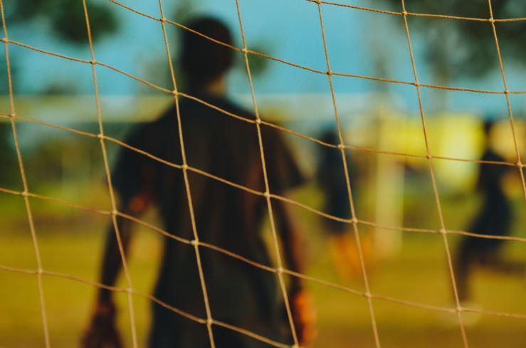 Soccer goalie in net