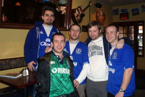 Everton supporters at a bar